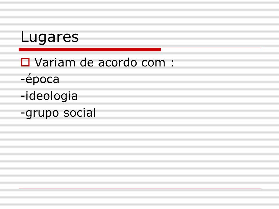 Lugares  Variam de acordo com : -época -ideologia -grupo social