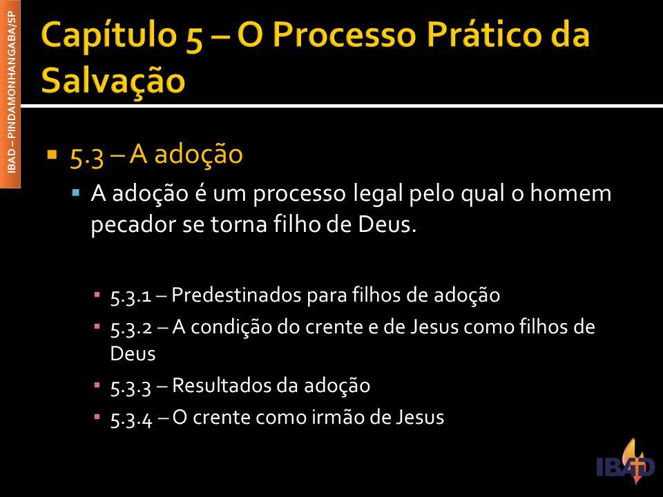 IBAD – PINDAMONHANGABA/SP  5.3 – A adoção  A adoção é um processo legal pelo qual o homem pecador se torna filho de Deus. ▪ 5.3.1 – Predestinados pa
