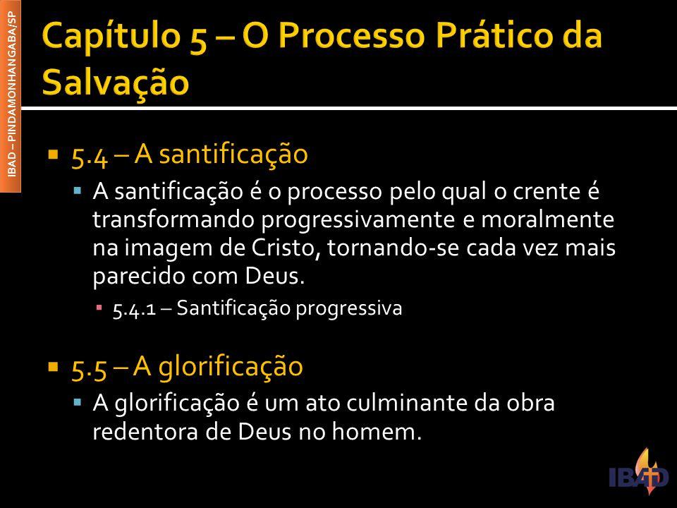 IBAD – PINDAMONHANGABA/SP  5.4 – A santificação  A santificação é o processo pelo qual o crente é transformando progressivamente e moralmente na ima