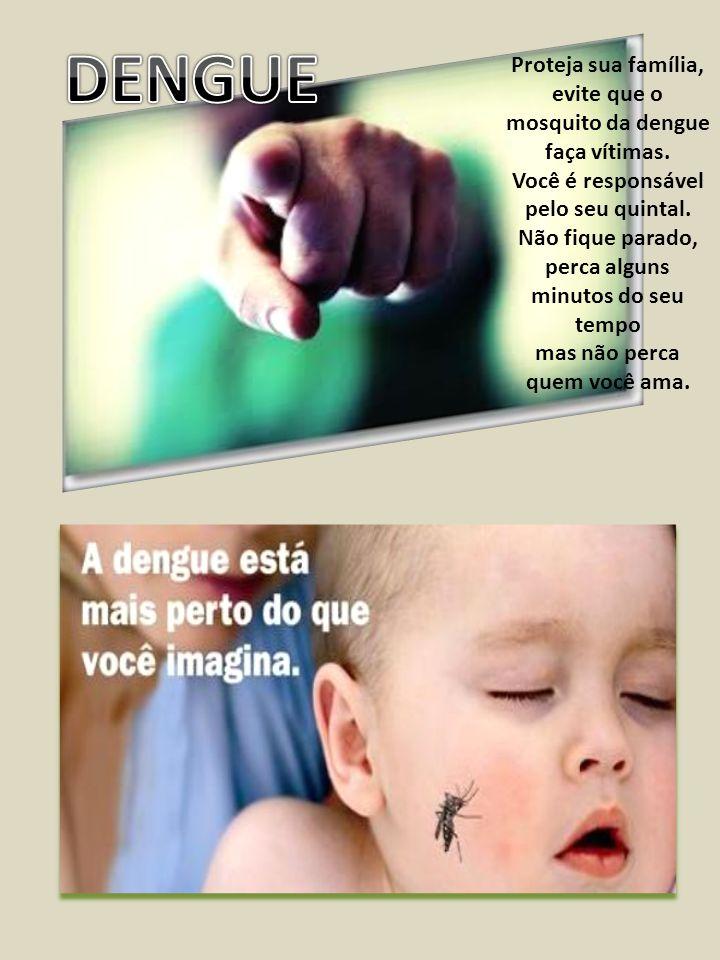 Proteja sua família, evite que o mosquito da dengue faça vítimas. Você é responsável pelo seu quintal. Não fique parado, perca alguns minutos do seu t