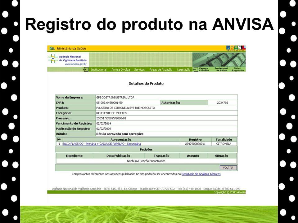 Registro do produto na ANVISA