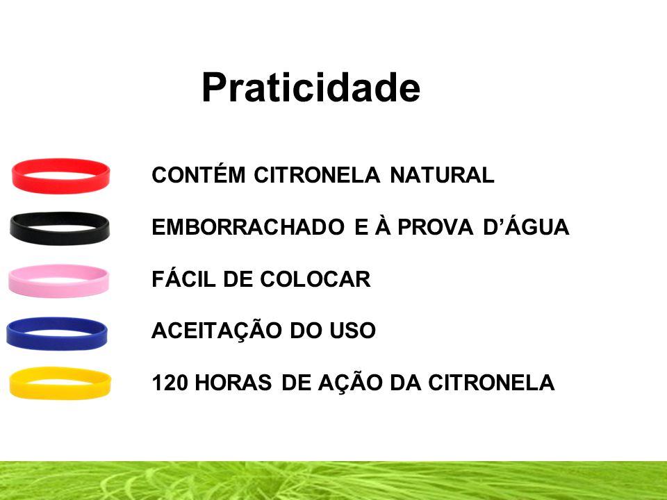 Praticidade CONTÉM CITRONELA NATURAL EMBORRACHADO E À PROVA D'ÁGUA FÁCIL DE COLOCAR ACEITAÇÃO DO USO 120 HORAS DE AÇÃO DA CITRONELA