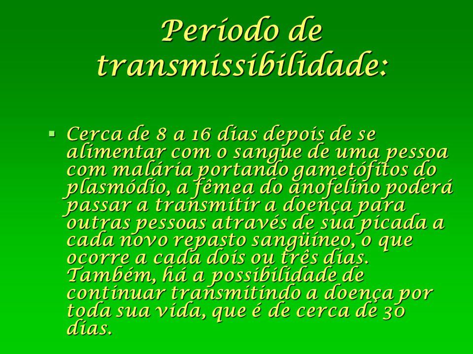 Período de transmissibilidade:  Cerca de 8 a 16 dias depois de se alimentar com o sangue de uma pessoa com malária portando gametófitos do plasmódio,