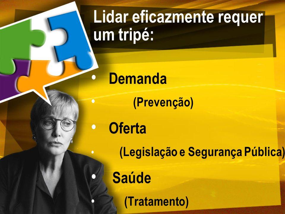 Lidar eficazmente requer um tripé: Demanda (Prevenção) Oferta (Legislação e Segurança Pública) Saúde (Tratamento)