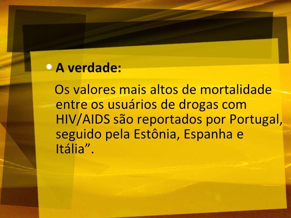 A verdade: Os valores mais altos de mortalidade entre os usuários de drogas com HIV/AIDS são reportados por Portugal, seguido pela Estônia, Espanha e