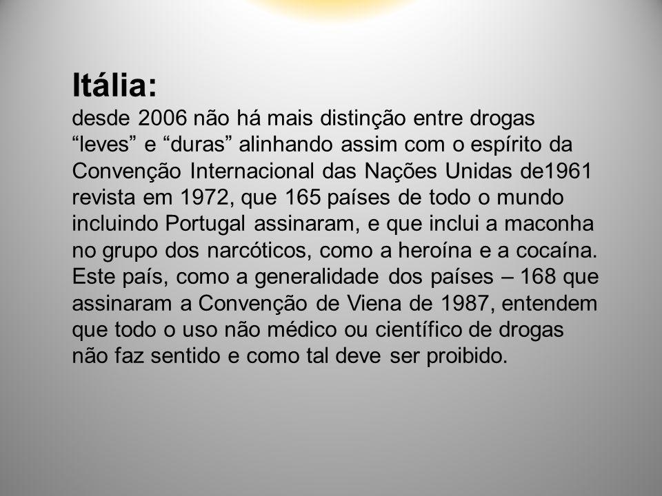 """Itália: desde 2006 não há mais distinção entre drogas """"leves"""" e """"duras"""" alinhando assim com o espírito da Convenção Internacional das Nações Unidas de"""