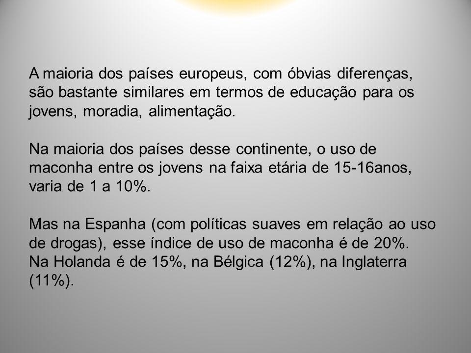 A maioria dos países europeus, com óbvias diferenças, são bastante similares em termos de educação para os jovens, moradia, alimentação. Na maioria do