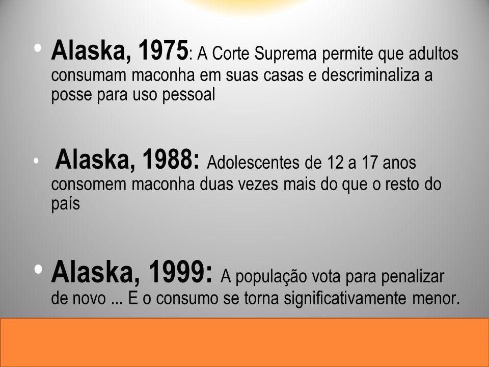 Alaska, 1975 : A Corte Suprema permite que adultos consumam maconha em suas casas e descriminaliza a posse para uso pessoal Alaska, 1988: Adolescentes