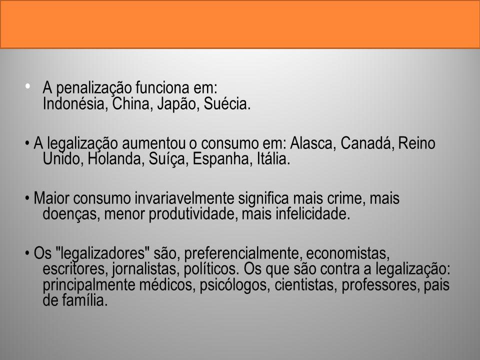A penalização funciona em: Indonésia, China, Japão, Suécia. A legalização aumentou o consumo em: Alasca, Canadá, Reino Unido, Holanda, Suíça, Espanha,
