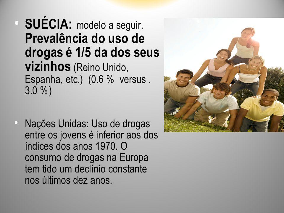 SUÉCIA: modelo a seguir. Prevalência do uso de drogas é 1/5 da dos seus vizinhos (Reino Unido, Espanha, etc.) (0.6 % versus. 3.0 %) Nações Unidas: Uso
