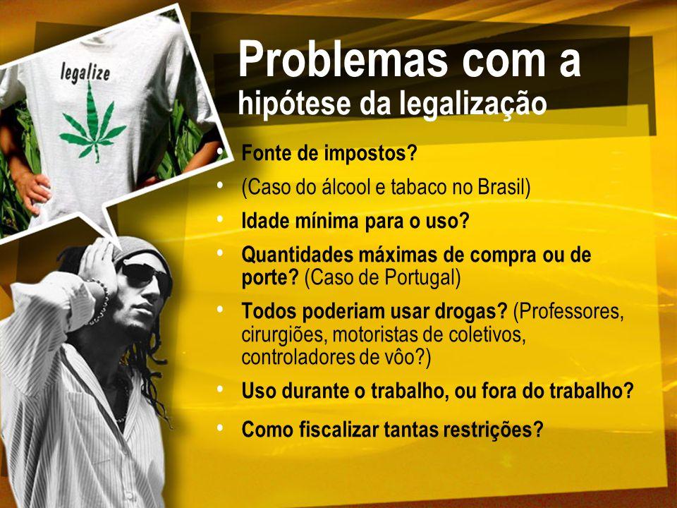 Problemas com a hipótese da legalização Fonte de impostos? (Caso do álcool e tabaco no Brasil) Idade mínima para o uso? Quantidades máximas de compra