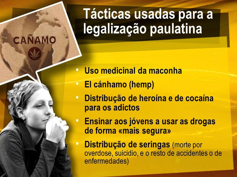 Tácticas usadas para a legalização paulatina Uso medicinal da maconha El cánhamo (hemp) Distribução de heroína e de cocaína para os adictos Ensinar ao