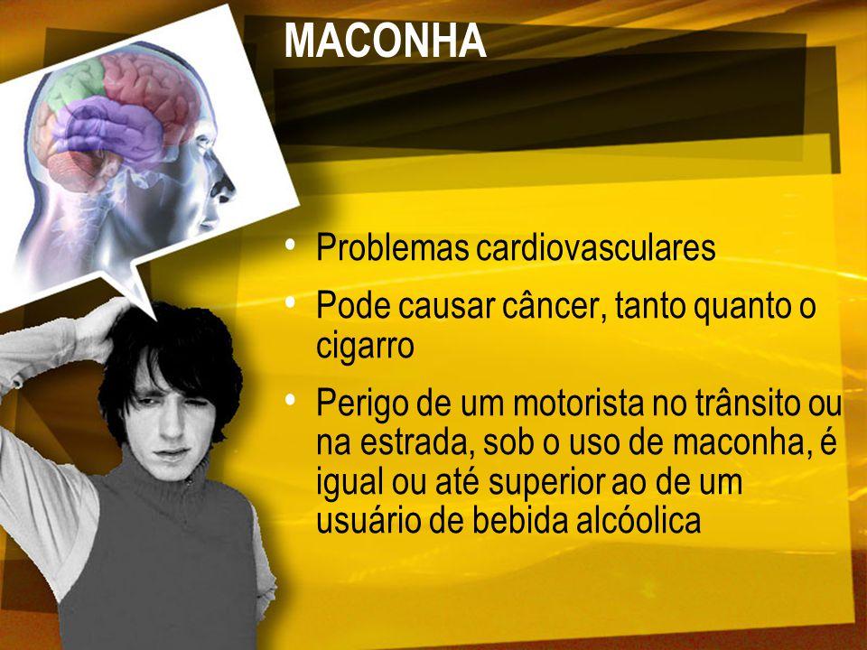 MACONHA Problemas cardiovasculares Pode causar câncer, tanto quanto o cigarro Perigo de um motorista no trânsito ou na estrada, sob o uso de maconha,