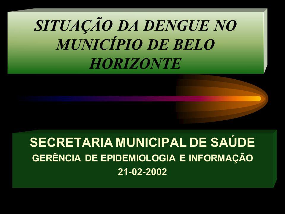 SITUAÇÃO DA DENGUE NO MUNICÍPIO DE BELO HORIZONTE SECRETARIA MUNICIPAL DE SAÚDE GERÊNCIA DE EPIDEMIOLOGIA E INFORMAÇÃO 21-02-2002