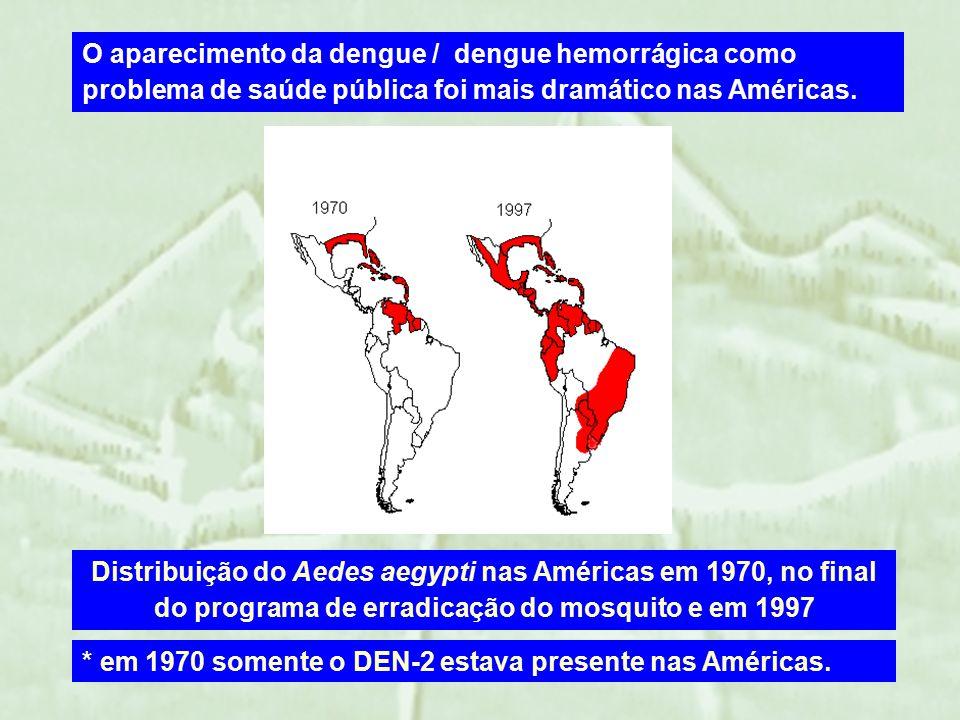 Distribuição do Aedes aegypti nas Américas em 1970, no final do programa de erradicação do mosquito e em 1997 O aparecimento da dengue / dengue hemorrágica como problema de saúde pública foi mais dramático nas Américas.