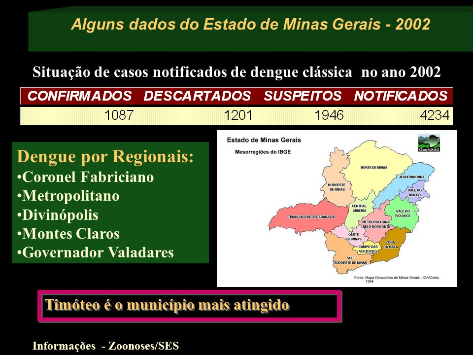 Alguns dados do Estado de Minas Gerais - 2002 Informações - Zoonoses/SES Dengue por Regionais: Coronel Fabriciano Metropolitano Divinópolis Montes Claros Governador Valadares Situação de casos notificados de dengue clássica no ano 2002 Timóteo é o município mais atingido