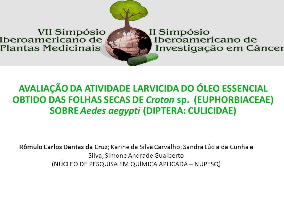 Rômulo Carlos Dantas da Cruz; Karine da Silva Carvalho; Sandra Lúcia da Cunha e Silva; Simone Andrade Gualberto (NÚCLEO DE PESQUISA EM QUÍMICA APLICAD