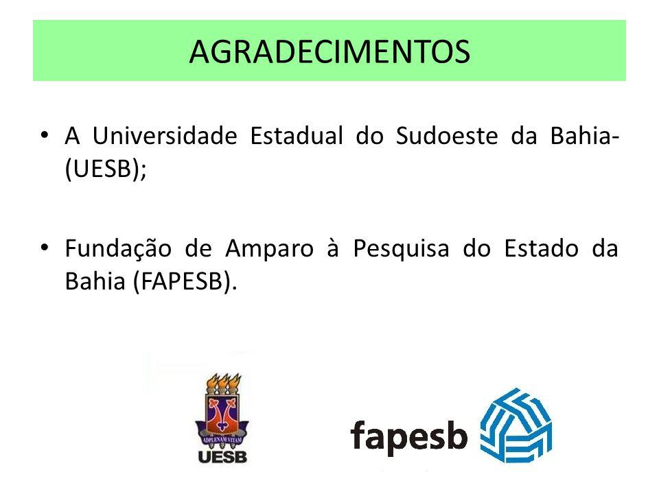 A Universidade Estadual do Sudoeste da Bahia- (UESB); Fundação de Amparo à Pesquisa do Estado da Bahia (FAPESB). AGRADECIMENTOS