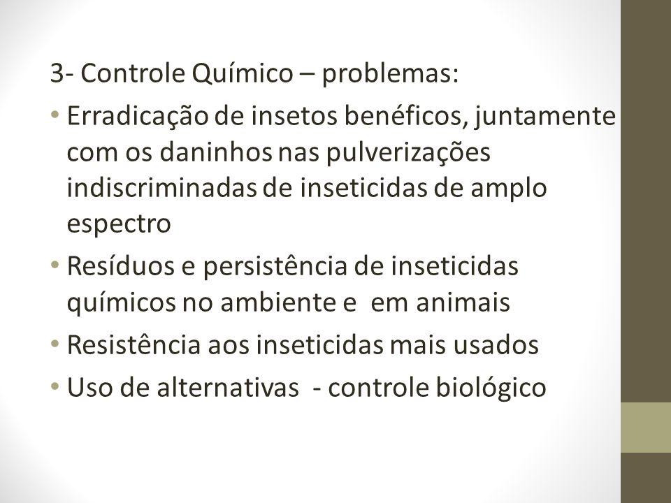 3- Controle Químico – problemas: Erradicação de insetos benéficos, juntamente com os daninhos nas pulverizações indiscriminadas de inseticidas de ampl