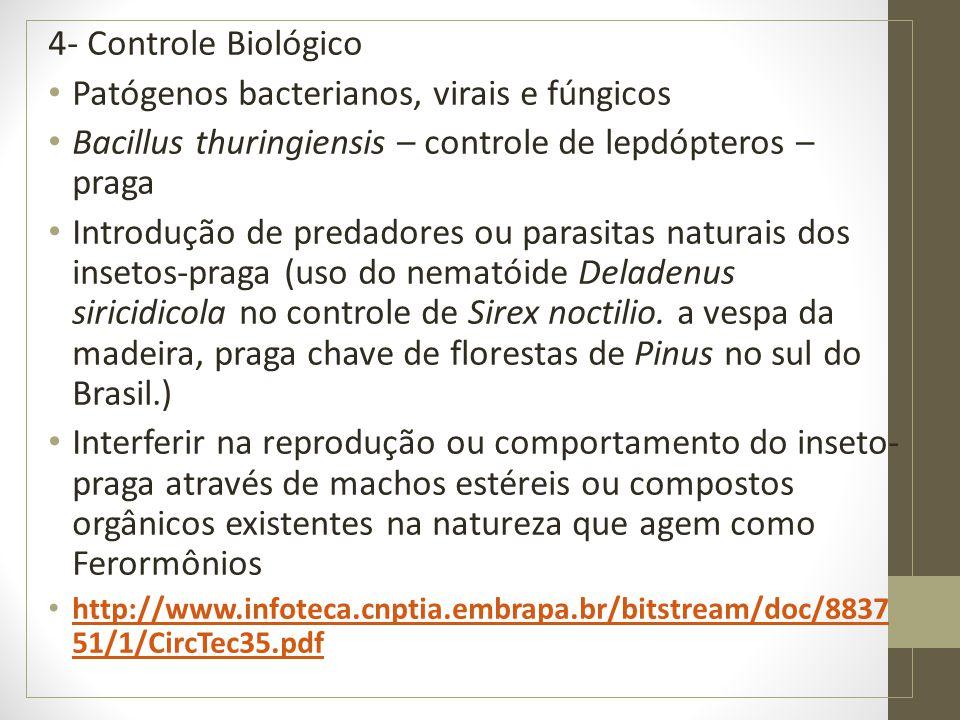 4- Controle Biológico Patógenos bacterianos, virais e fúngicos Bacillus thuringiensis – controle de lepdópteros – praga Introdução de predadores ou pa