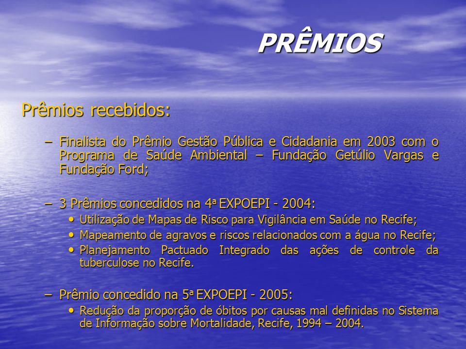 PRÊMIOS Prêmios recebidos: –Finalista do Prêmio Gestão Pública e Cidadania em 2003 com o Programa de Saúde Ambiental – Fundação Getúlio Vargas e Fundação Ford; –3 Prêmios concedidos na 4 a EXPOEPI - 2004: Utilização de Mapas de Risco para Vigilância em Saúde no Recife; Utilização de Mapas de Risco para Vigilância em Saúde no Recife; Mapeamento de agravos e riscos relacionados com a água no Recife; Mapeamento de agravos e riscos relacionados com a água no Recife; Planejamento Pactuado Integrado das ações de controle da tuberculose no Recife.