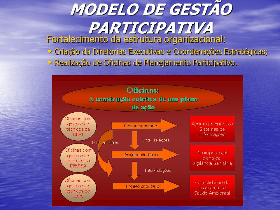 Fortalecimento da estrutura organizacional: Fortalecimento da estrutura organizacional: Criação da Diretorias Executivas e Coordenações Estratégicas; Criação da Diretorias Executivas e Coordenações Estratégicas; Realização de Oficinas de Planejamento Participativo.