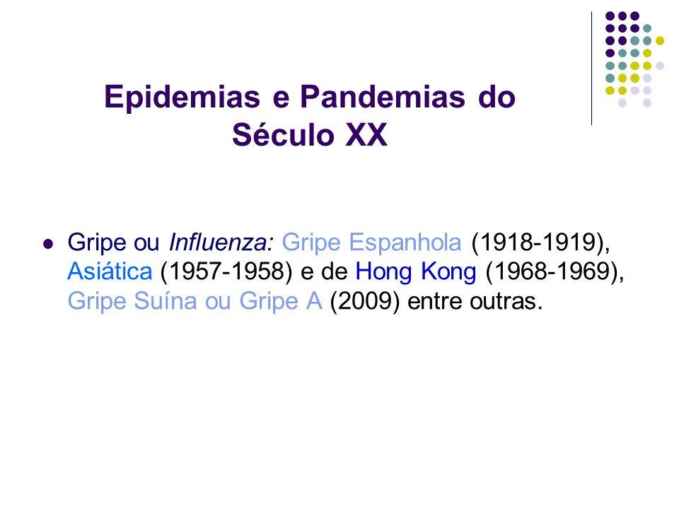 Epidemias e Pandemias do Século XX Gripe ou Influenza: Gripe Espanhola (1918-1919), Asiática (1957-1958) e de Hong Kong (1968-1969), Gripe Suína ou Gr