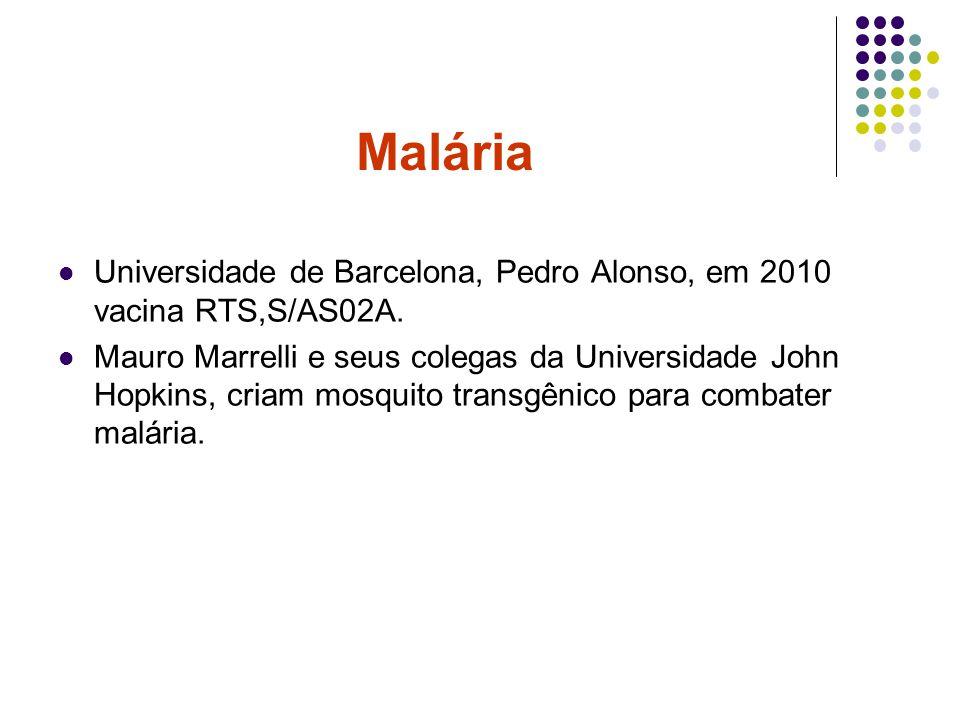 Universidade de Barcelona, Pedro Alonso, em 2010 vacina RTS,S/AS02A. Mauro Marrelli e seus colegas da Universidade John Hopkins, criam mosquito transg