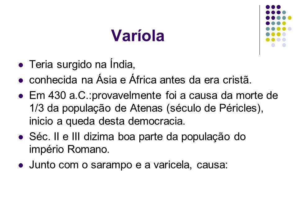 Varíola Teria surgido na Índia, conhecida na Ásia e África antes da era cristã. Em 430 a.C.:provavelmente foi a causa da morte de 1/3 da população de