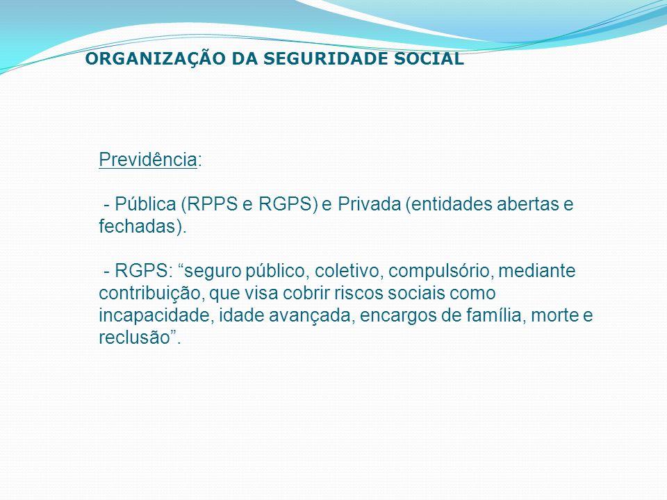 """Previdência: - Pública (RPPS e RGPS) e Privada (entidades abertas e fechadas). - RGPS: """"seguro público, coletivo, compulsório, mediante contribuição,"""