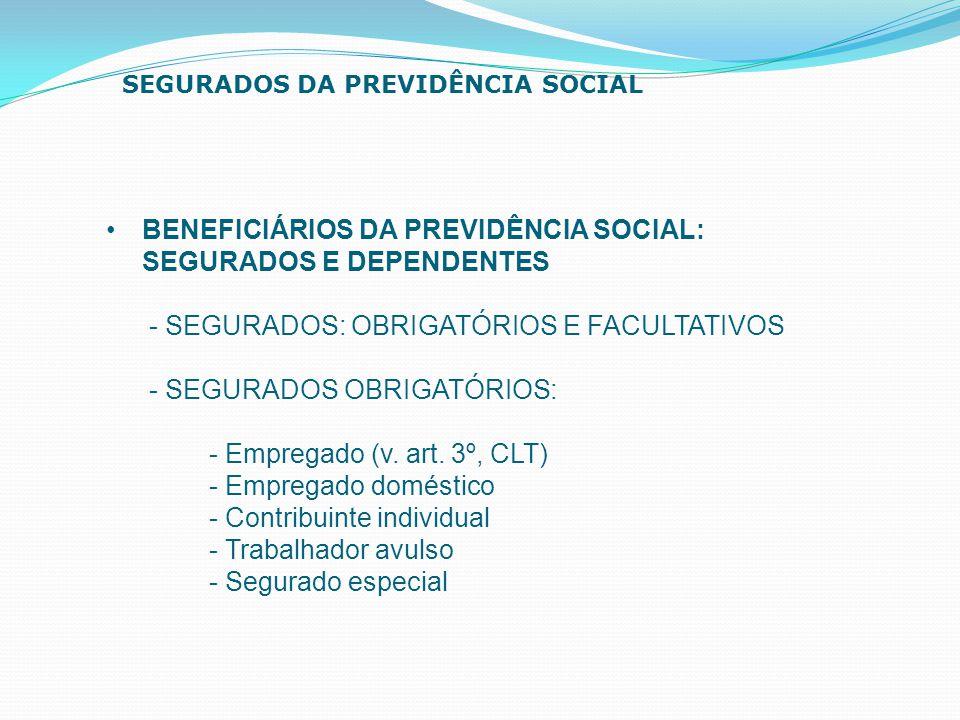 BENEFICIÁRIOS DA PREVIDÊNCIA SOCIAL: SEGURADOS E DEPENDENTES - SEGURADOS: OBRIGATÓRIOS E FACULTATIVOS - SEGURADOS OBRIGATÓRIOS: - Empregado (v. art. 3