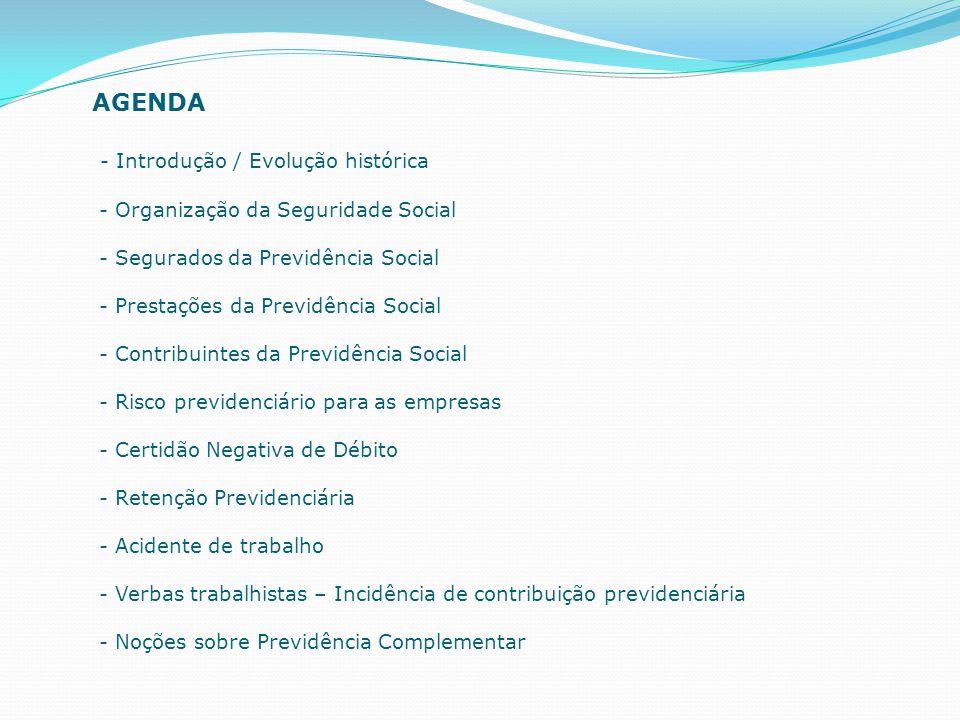 AGENDA - Introdução / Evolução histórica - Organização da Seguridade Social - Segurados da Previdência Social - Prestações da Previdência Social - Con
