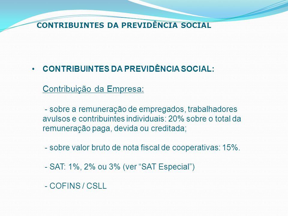 CONTRIBUINTES DA PREVIDÊNCIA SOCIAL: Contribuição da Empresa: - sobre a remuneração de empregados, trabalhadores avulsos e contribuintes individuais: