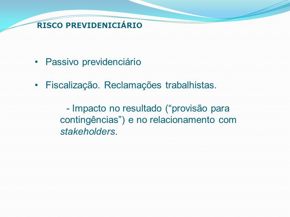 """Passivo previdenciário Fiscalização. Reclamações trabalhistas. - Impacto no resultado (""""provisão para contingências"""") e no relacionamento com stakehol"""