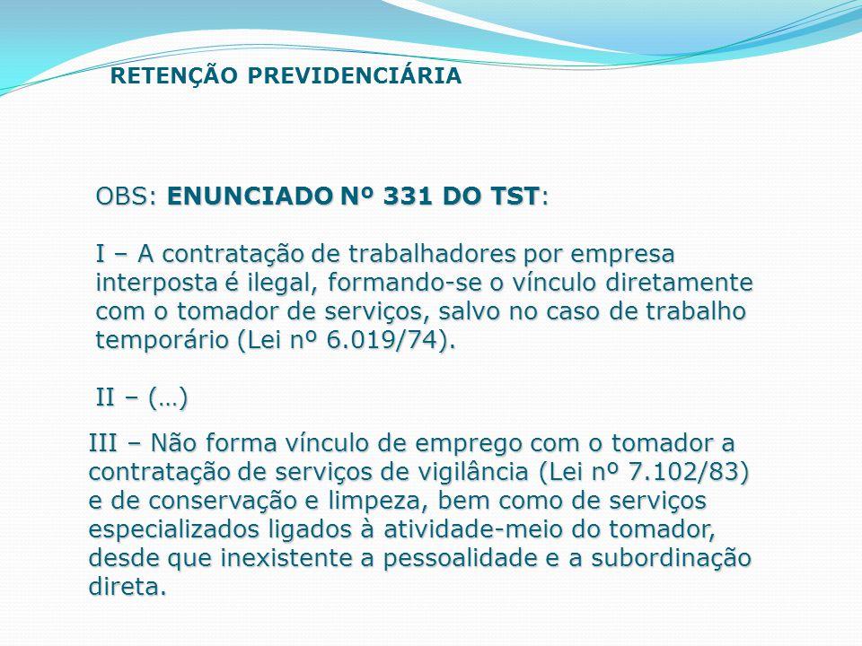 OBS: ENUNCIADO Nº 331 DO TST: I – A contratação de trabalhadores por empresa interposta é ilegal, formando-se o vínculo diretamente com o tomador de s