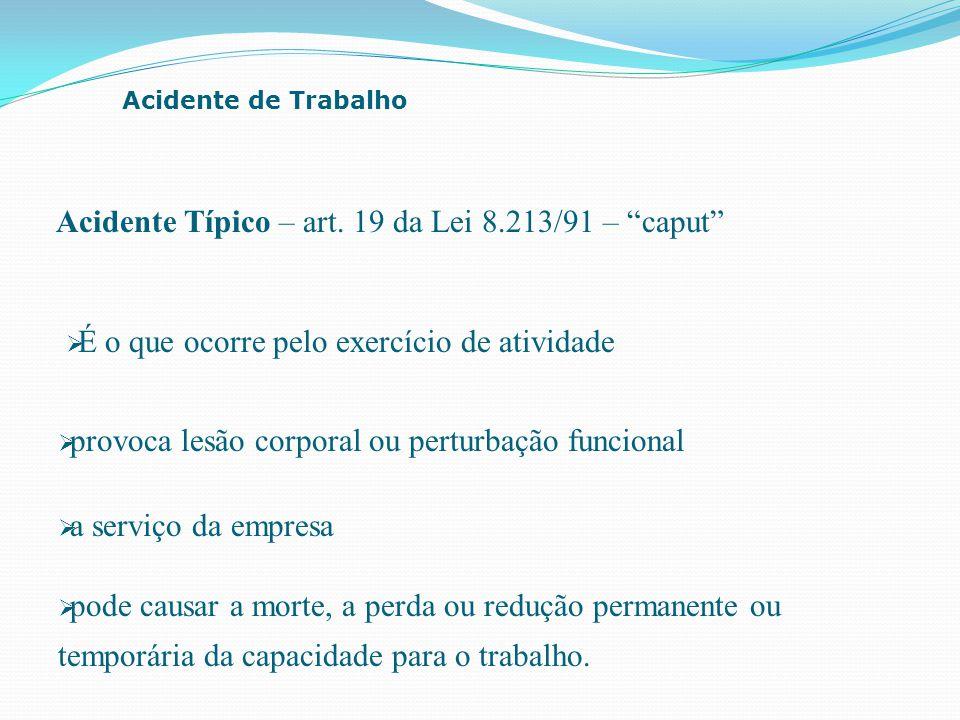 """ a serviço da empresa Acidente de Trabalho Acidente Típico – art. 19 da Lei 8.213/91 – """"caput""""  provoca lesão corporal ou perturbação funcional  É"""
