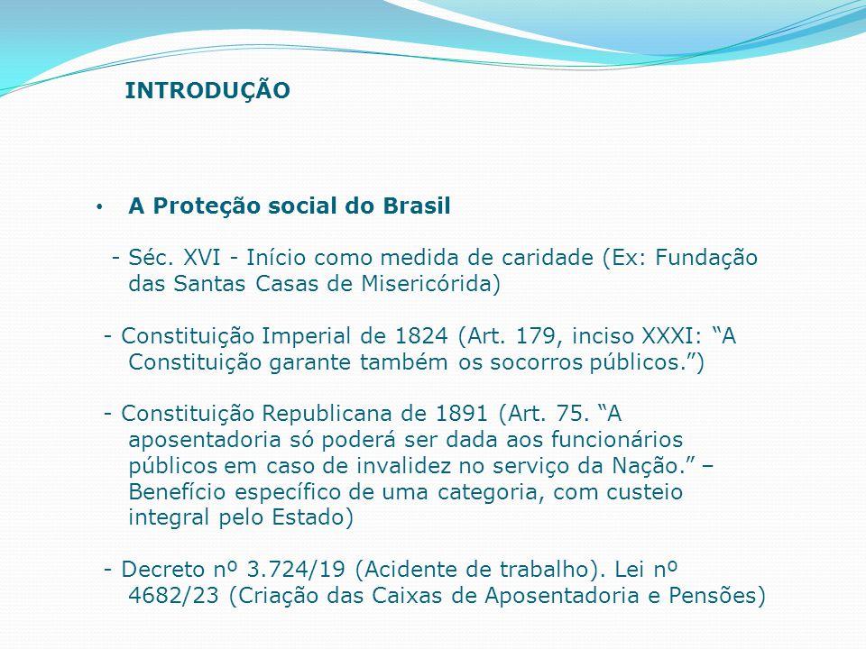 A Proteção social do Brasil - Séc. XVI - Início como medida de caridade (Ex: Fundação das Santas Casas de Misericórida) - Constituição Imperial de 182