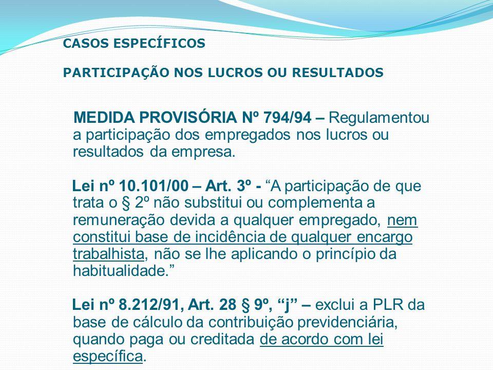 """MEDIDA PROVISÓRIA Nº 794/94 – Regulamentou a participação dos empregados nos lucros ou resultados da empresa. Lei nº 10.101/00 – Art. 3º - """"A particip"""