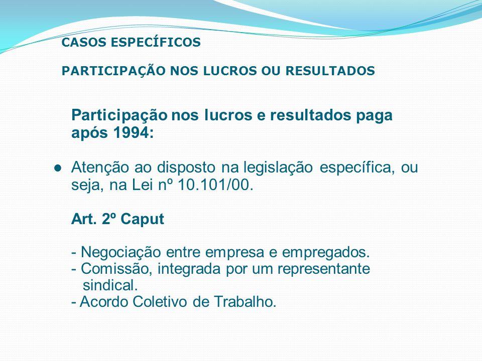 Participação nos lucros e resultados paga após 1994: Atenção ao disposto na legislação específica, ou seja, na Lei nº 10.101/00. Art. 2º Caput - Negoc