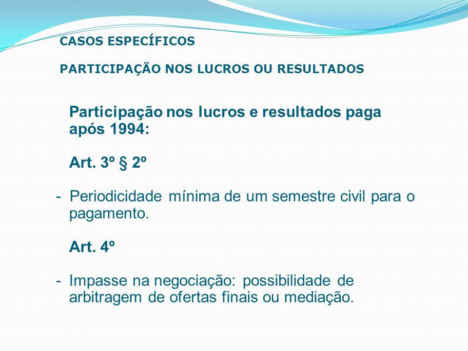 Participação nos lucros e resultados paga após 1994: Art. 3º § 2º - Periodicidade mínima de um semestre civil para o pagamento. Art. 4º - Impasse na n