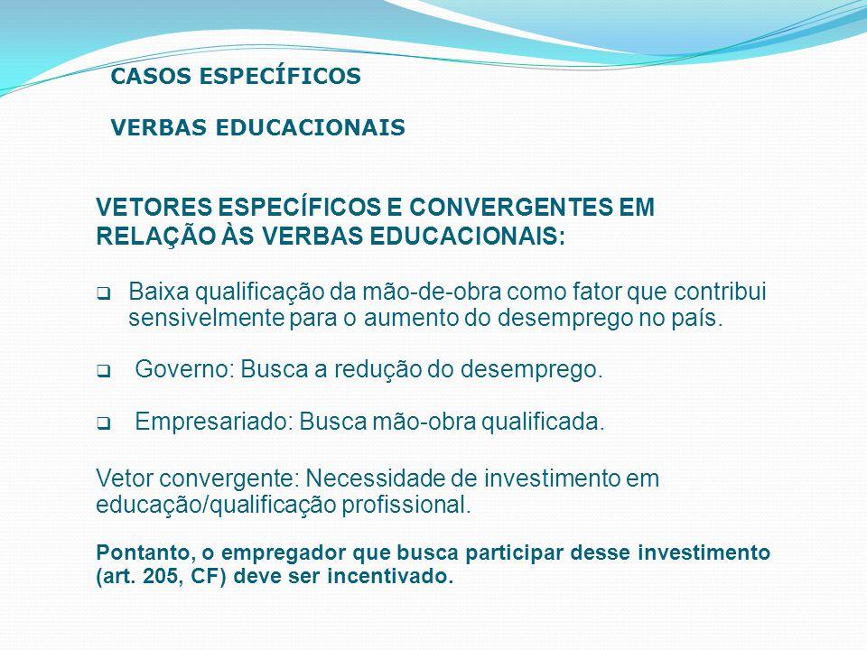 VETORES ESPECÍFICOS E CONVERGENTES EM RELAÇÃO ÀS VERBAS EDUCACIONAIS:  Baixa qualificação da mão-de-obra como fator que contribui sensivelmente para
