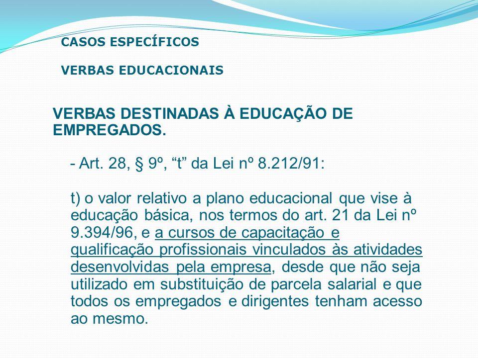 """VERBAS DESTINADAS À EDUCAÇÃO DE EMPREGADOS. - Art. 28, § 9º, """"t"""" da Lei nº 8.212/91: t) o valor relativo a plano educacional que vise à educação básic"""