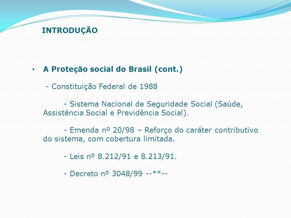 A Proteção social do Brasil (cont.) - Constituição Federal de 1988 - Sistema Nacional de Seguridade Social (Saúde, Assistência Social e Previdência So
