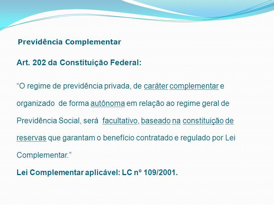 """Previdência Complementar Art. 202 da Constituição Federal: """"O regime de previdência privada, de caráter complementar e organizado de forma autônoma em"""