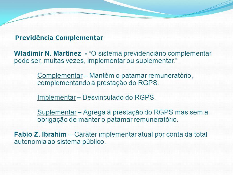 """Previdência Complementar Wladimir N. Martinez - """"O sistema previdenciário complementar pode ser, muitas vezes, implementar ou suplementar."""" Complement"""