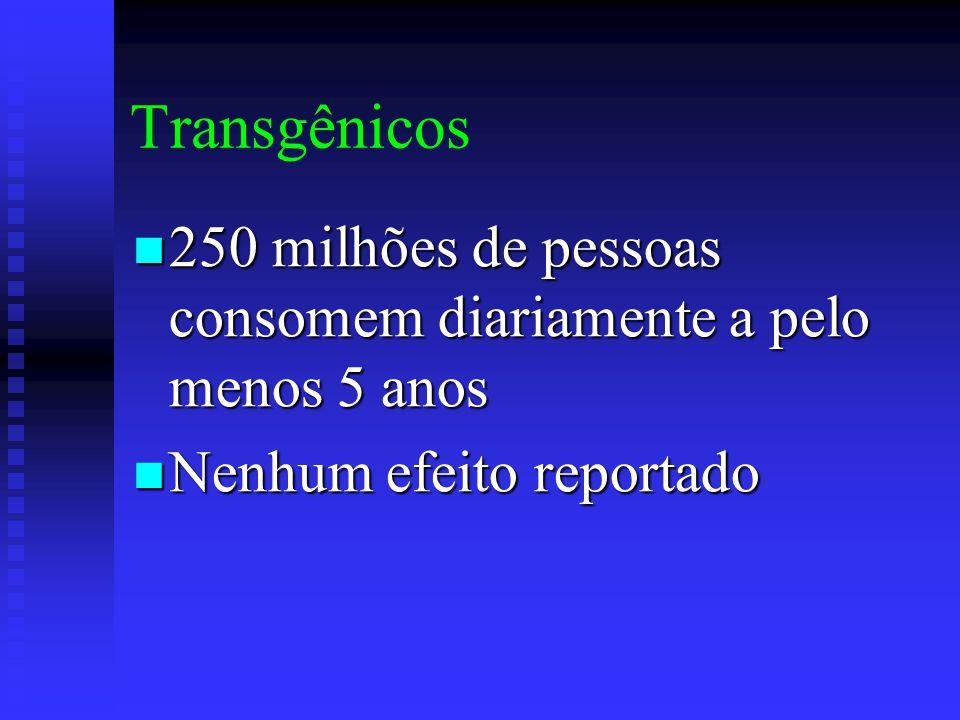 Transgênicos 250 milhões de pessoas consomem diariamente a pelo menos 5 anos 250 milhões de pessoas consomem diariamente a pelo menos 5 anos Nenhum efeito reportado Nenhum efeito reportado