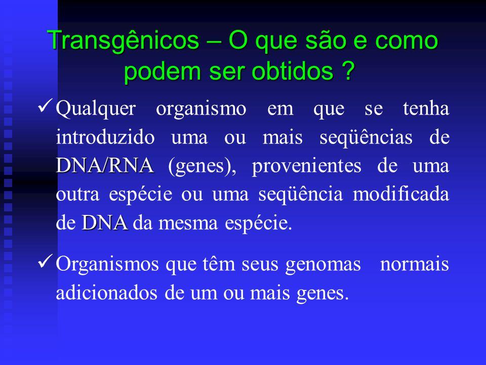 Transgênicos – O que são e como podem ser obtidos ? DNA/RNA DNA Qualquer organismo em que se tenha introduzido uma ou mais seqüências de DNA/RNA (gene