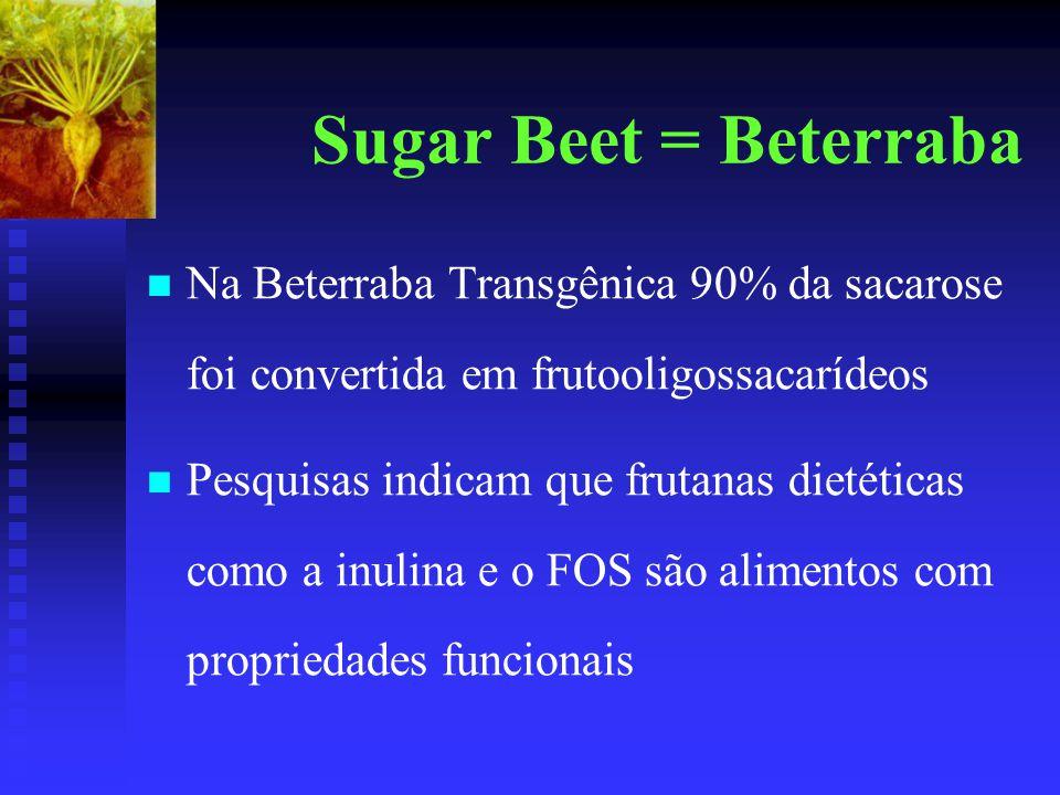 Sugar Beet = Beterraba Na Beterraba Transgênica 90% da sacarose foi convertida em frutooligossacarídeos Pesquisas indicam que frutanas dietéticas como a inulina e o FOS são alimentos com propriedades funcionais