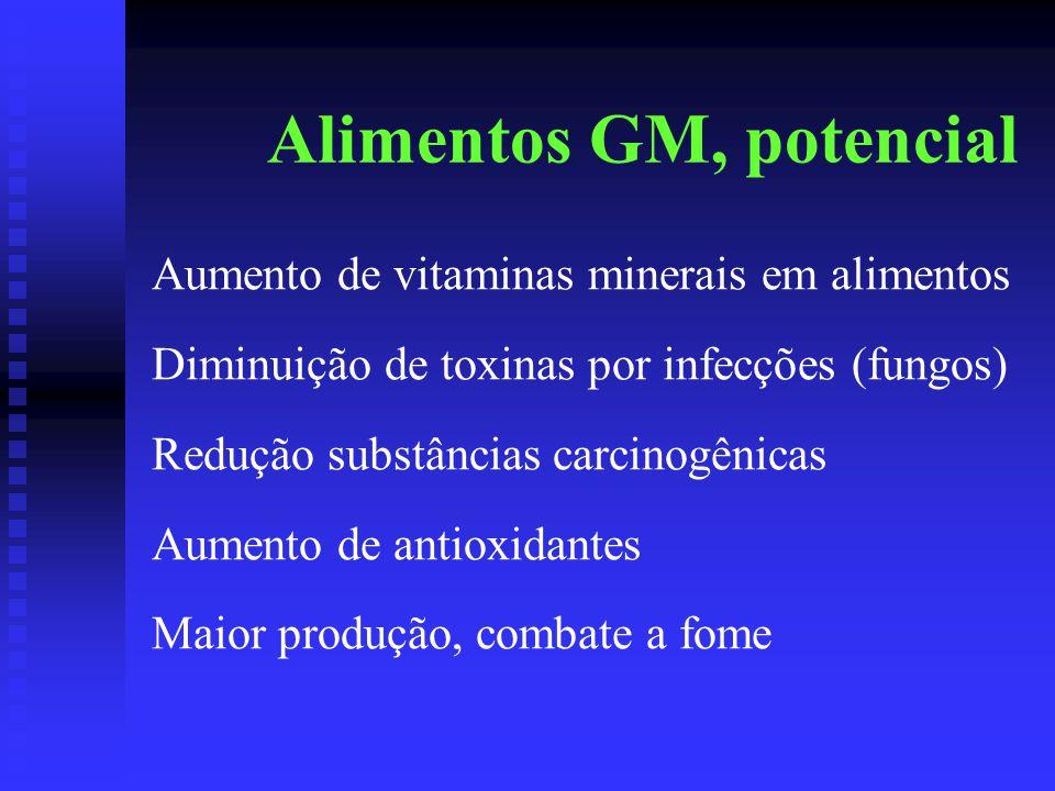 Alimentos GM, potencial Aumento de vitaminas minerais em alimentos Diminuição de toxinas por infecções (fungos) Redução substâncias carcinogênicas Aumento de antioxidantes Maior produção, combate a fome