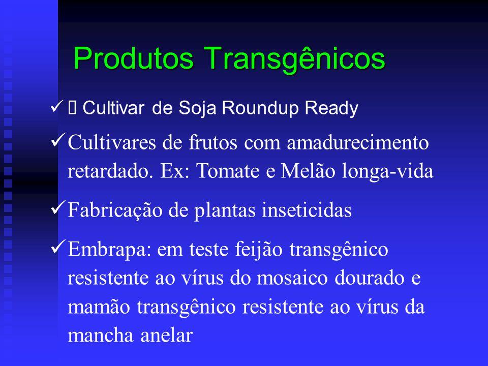  Cultivar de Soja Roundup Ready Cultivares de frutos com amadurecimento retardado. Ex: Tomate e Melão longa-vida Fabricação de plantas inseticidas Em